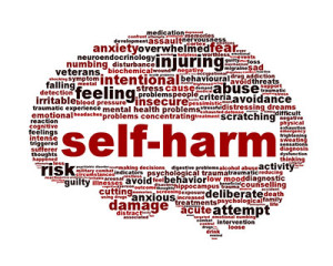 Graphic of brain with words surrounding self-harm - self harming behavior